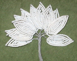 Antique French Glass Beaded Leaves