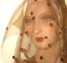 Load image into Gallery viewer, Edwardian silk chiffon & chenille dot veiling