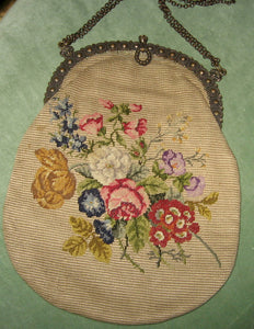 French Silk Pettipoint Purse with Art Nouveau Fittings