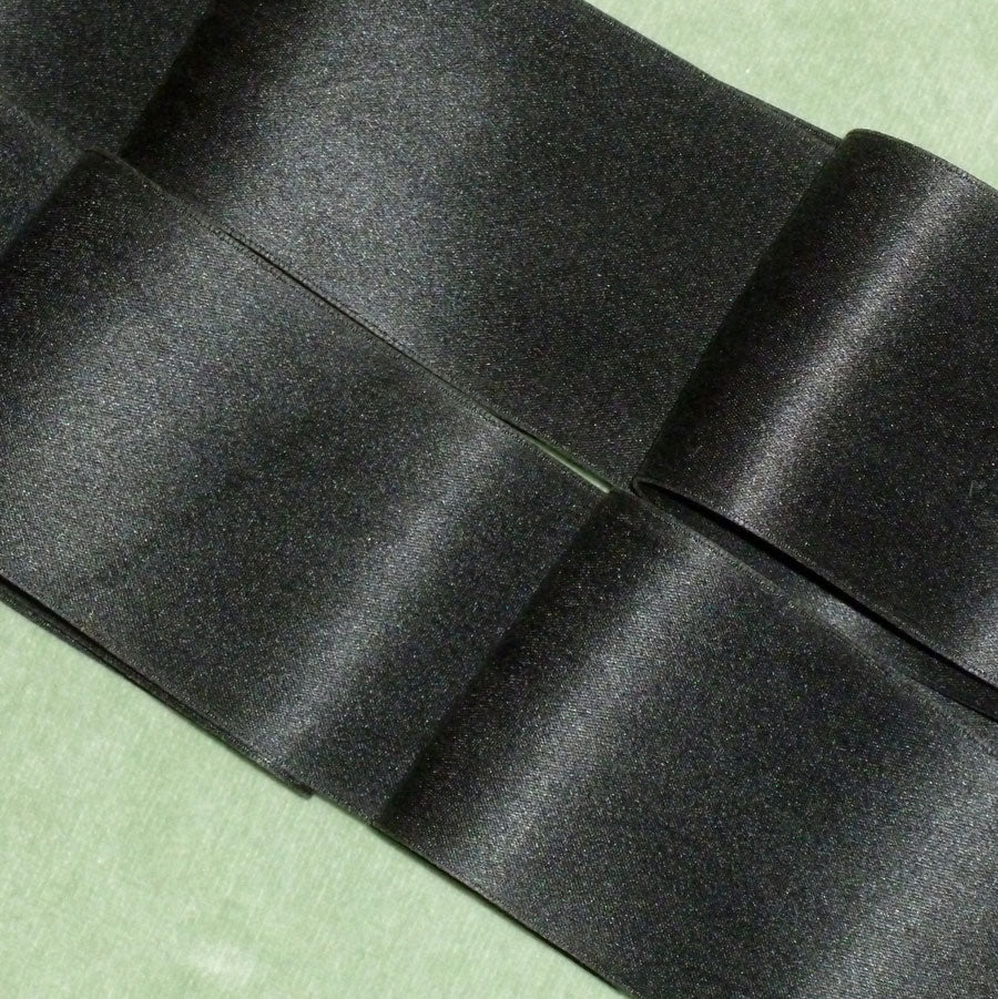 Midnight Black Silk Satin Ribbon