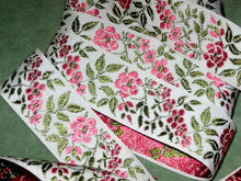 Load image into Gallery viewer, Vintage woven floral ribbon pink roses