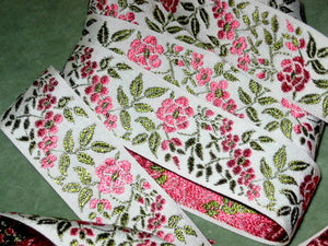 Vintage woven floral ribbon pink roses