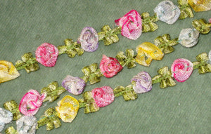 Antique French Ombre Ribbon Rosette Trim