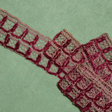 Load image into Gallery viewer, Antique French Millinery Trim Two Cranberry Red Silk Chenille Cords Detail