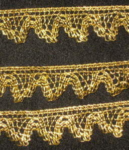 Antique French Gold Metal Lace Scalloped Border