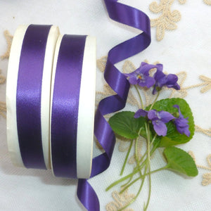 Vintage Ribbon by the Roll - True Violet Single Faced Satin Ribbon