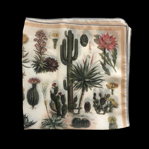 Desert Cactus Silk Chiffon Scarf-Accessory-Curious Prints-PaxtonGate
