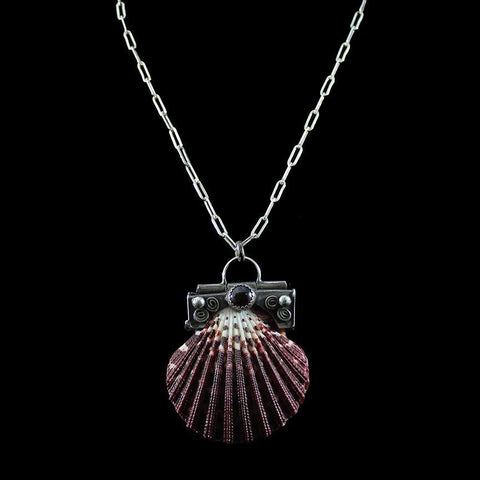 Calico Scallop Shell Locket Necklace-Necklaces-Morgaine Faye-PaxtonGate