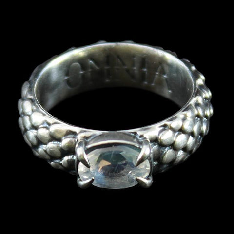 Draco Ring Silver with Rainbow Moonstone-Rings-OMNIA Studios-PaxtonGate