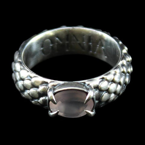 Draco Ring Silver with Rose Quartz-Rings-OMNIA Studios-PaxtonGate
