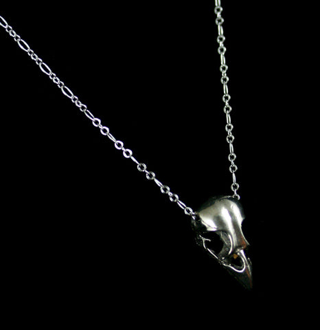 White Bronze Sparrow Skull Necklace-ecklaces-Black Sparrow-PaxtonGate