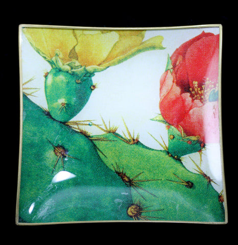 Cactus Blossum Decoupage Glass Serving Tray-Kitchen-Why Girls Go Astray-PaxtonGate