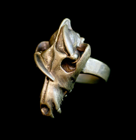 Brass Dire Wolf and Crow Ring-ecklaces-Miyu Decay-PaxtonGate