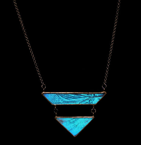 Blue Morpho Geometric Drop Necklace-ecklaces-Hart Variations-PaxtonGate