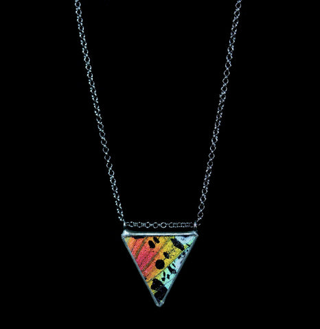 Rainbow Sunset Moth Parallel Isoceles Necklace-ecklaces-Hart Variations-PaxtonGate