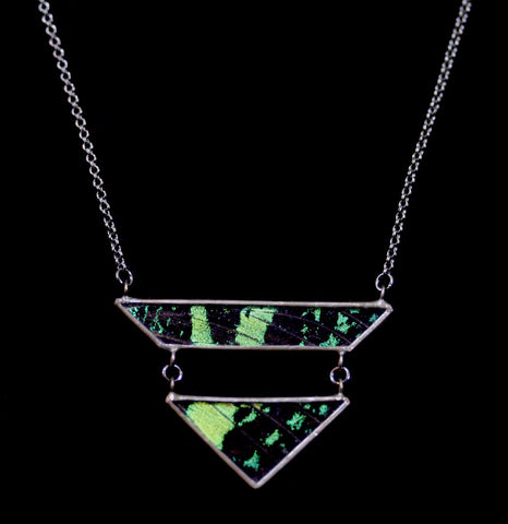 Emerald Sunset Moth Geometric Drop Necklace-ecklaces-Hart Variations-PaxtonGate