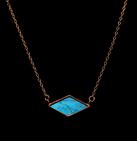 Rose Gold Blue Morpho Diamond Eye Necklace-ecklaces-Hart Variations-PaxtonGate
