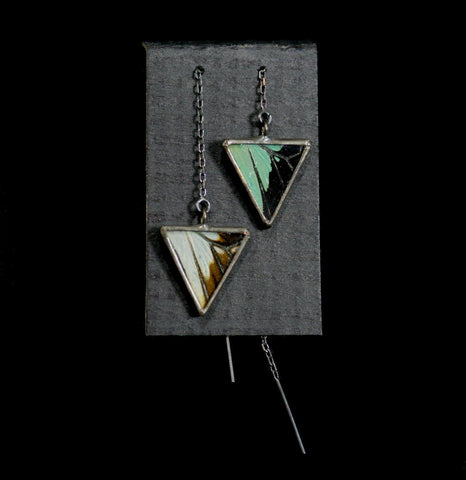Swallowtail Apple Green Triangle Thread Earrings-arrings-Hart Variations-PaxtonGate