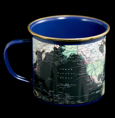 Enamel Blue Map of the World Mug-Pots&Cups-Gift Republic-PaxtonGate