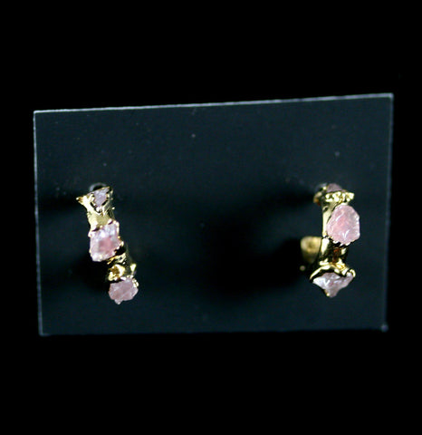 Rose Quartz Babe Hoop Earrings-arrings-Dani Barbe-PaxtonGate