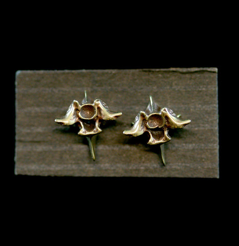 Yellow Bronze & Gold Plated Snake Vertebra Earrings-arrings-Black Sparrow-PaxtonGate