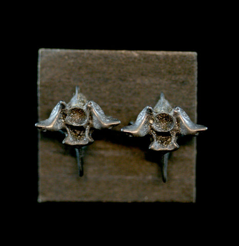 Graphite Silver Snake Vertebra Earrings-arrings-Black Sparrow-PaxtonGate