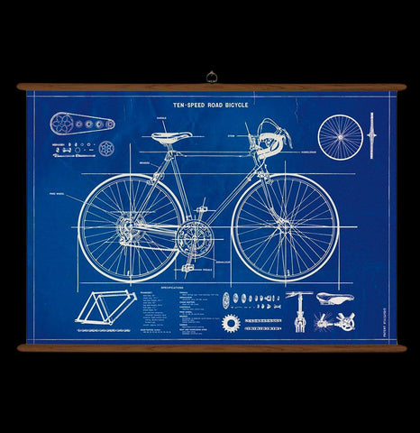 Vintage Bicycle Blueprint School Chart-2D-Cavallini & Co.-PaxtonGate