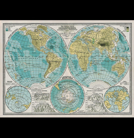 Hemispheres World Map Poster Wrap - PaxtonGate