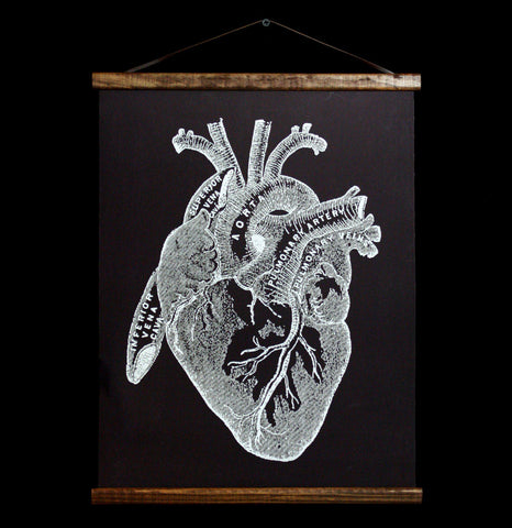 Anatomy Heart Hanging Canvas Chart-2D-Curious Prints-PaxtonGate
