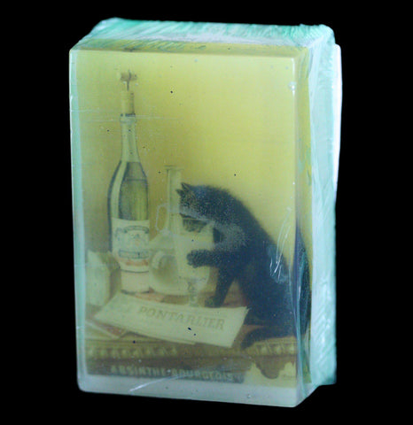 Vegan Organic Cat and Absinthe Print Body Soap - PaxtonGate