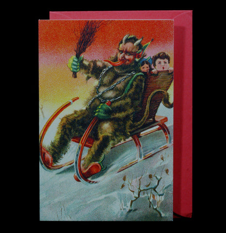 Krampus Sleigh Holiday Greeting Card - PaxtonGate