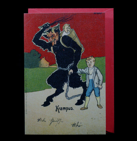 Krampus Red Sky Holiday Greeting Card - PaxtonGate