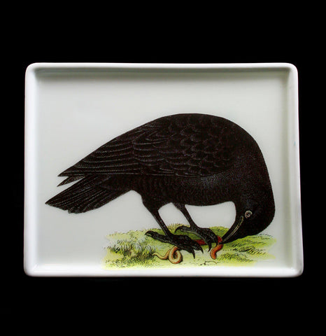 Decoupage Glass Raven Tray - PaxtonGate
