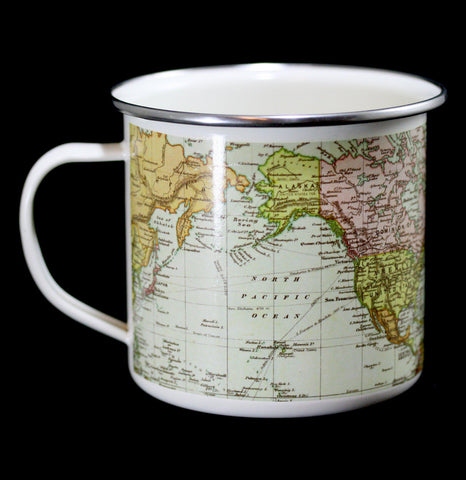 Enamel Map of the World White Mug-Pots&Cups-Gift Republic-PaxtonGate