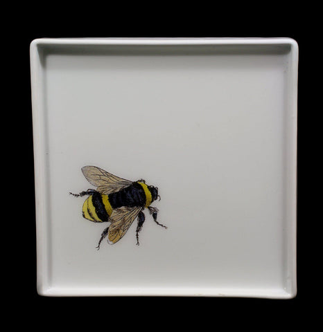 Decoupage Glass Solitary Bumble Bee Tray - PaxtonGate