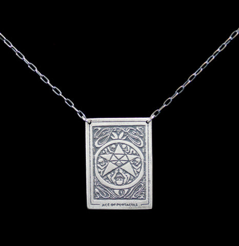 "Sterling Silver Tarot Card ""Ace Of Pentacles"" Pendant Necklace-Necklaces-Acid Queen Jewelry-PaxtonGate"