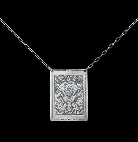 "Sterling Silver Tarot Card ""The Magician"" Pendant Necklace-Necklaces-Acid Queen Jewelry-PaxtonGate"