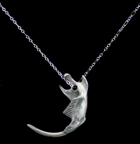 Graphite Silver Rodent Jaw Necklace-Necklaces-Black Sparrow-PaxtonGate