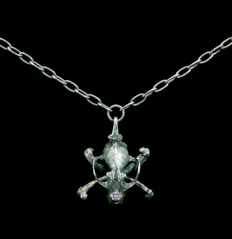 Sterling Silver Skull and Crossbone Necklace-Necklaces-Miyu Decay-PaxtonGate