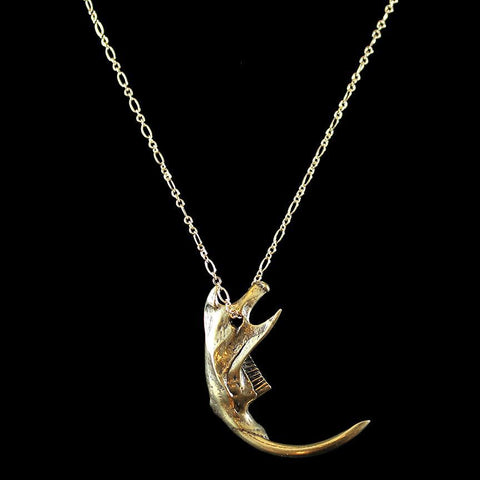 Rodent Jaw Necklace Yellow Bronze-Necklaces-Black Sparrow-PaxtonGate