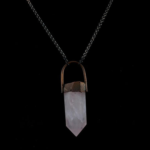 Large Rose Quartz Necklace-Necklaces-Hawkhouse-PaxtonGate