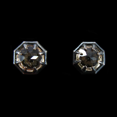Champagne Quartz Octagon Stud Earrings-Earrings-Lauren Wolf-PaxtonGate