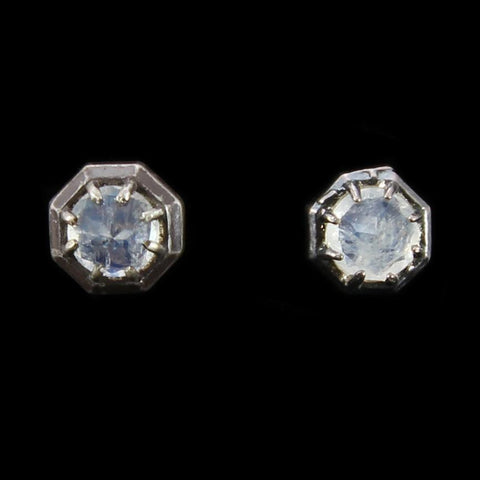 Rainbow Moonstone Octagon Studs-Earrings-Lauren Wolf-PaxtonGate