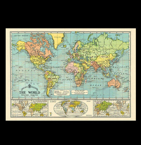 World Map 6 Poster Wrap-2D-Cavallini & Co.-PaxtonGate