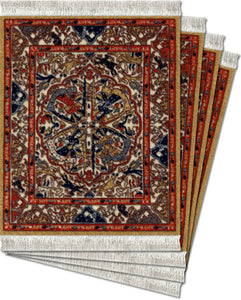 Dusty Gold Ancient Oriental Coaster Rug Set