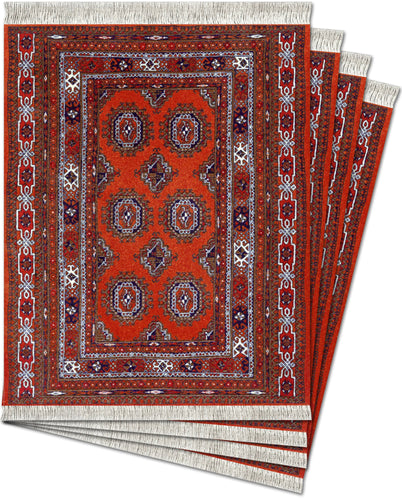 Burnt Orange Turkoman Bokhara Coaster Rug Set