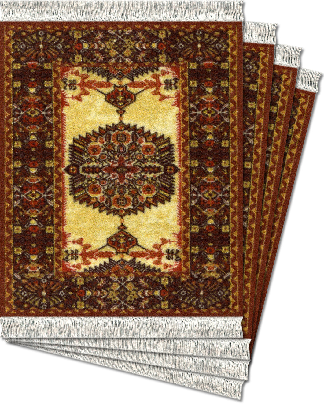 Ivory-Gold Feraghan Coaster Rug Set