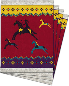 Celebrate the Horse Red Coaster Rug Set