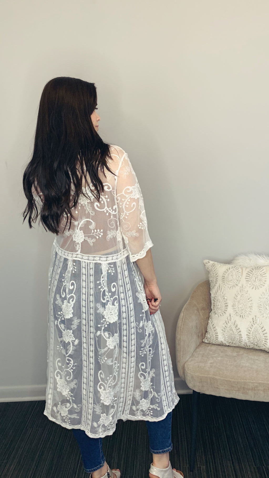 Off-White Lace Duster Cardigan - Short Sleeves