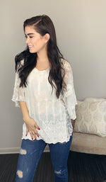 White Lace Flowy Poncho Top